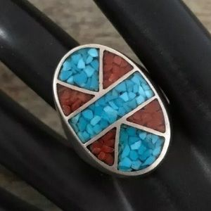 Jewelry - Vintage OldPawn SterlingSilver TurquoiseInlay Ring